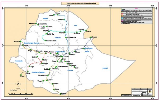 Map of National Railway Network of Ethiopia (NRNE)