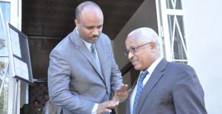 Hailemeskel Tefera, left, state minister of the Ministry of Urban Housing & Construction and Board chairperson of the WWDSE, and the minister of Water, Irrigation & Energy, Alemayehu Tegenu image
