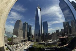 Image showing the final section of the spire sits on top of One World Trade Center